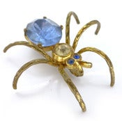 Vintage Art Deco Blue & White Glass Metal Spider Pin Brooch