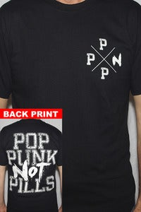 "Image of !!NEW!!  ""POP PUNK NOT PILLS"" Back Print + Crest T-shirt (White on Black)"