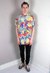 Image of Vintage Patterned Red/Blue/Orange Summer Shirt