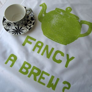 Image of Fancy a Brew? tea towel - lime