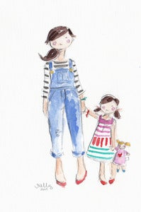 Image of MOM & DAUGHTER - ORIGINAL WATERCOLOR
