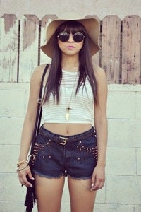 Image of Studed High Waist Shorts