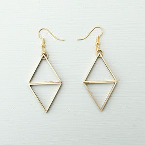 Image of Two Triangle Drop Brass Earrings by Rachel Loves Bob