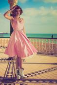 Image of Dusky Pink Satin Dress