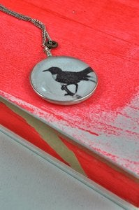 Image of Black Bird Glass Pendant