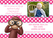 Image of Curious George in Pink Invitation