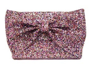 Image of Glitter Bow Clutch Bag - Rainbow