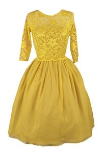 Image of DIANNA Yellow Lace Silk Chiffon Dress MADE TO ORDER