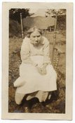 Image of GRUMPY OLD WOMAN IN CHAIR OUTSIDE VINTAGE SNAPSHOT