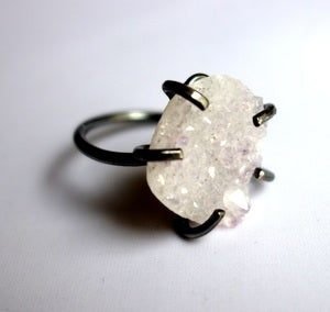 Image of White Drusy Crystal Ring with Prongs