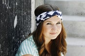 Image of Turban Headband in Navy Chevron