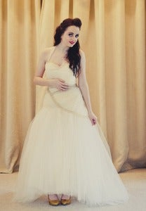 Image of Claudia - Champagne tulle pleated wedding gown