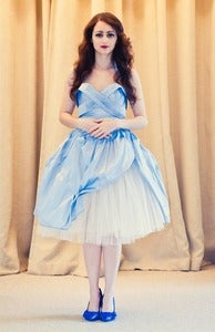 Image of Carla - Pale Blue Silk and Tulle Short Dress
