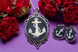 Image of Anchor Cameo Necklace Earrings Set