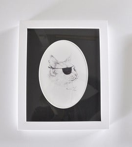 Image of FRAMED PIRATE CAT A5 PRINT WITH OVAL MATTE.