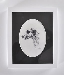 Image of FRAMED PIRATE DOG A5 PRINT WITH OVAL MATTE.