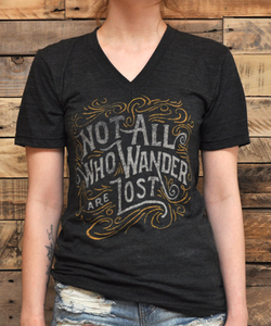 Image of Not all who wander are lost - Unisex Vneck