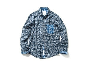 "Image of DeMarcoLab ""PAISLEY L/S SHIRT"" / Navy"
