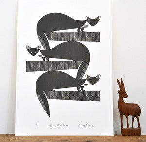 Image of Pine Martens Printed in Warm Black - An Original Hand Pulled Gocco Print