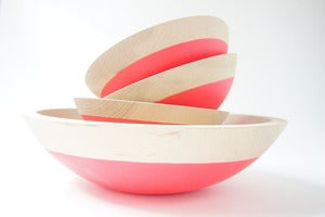 Image of Neon Pink Salad Serving Set {set of 5}