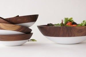 Image of White & Walnut Salad Serving Set {set of 5}
