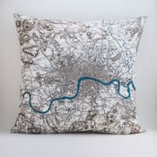 "Image of Vintage LONDON Map Pillow Cover, 18"" x18"" Made to Order"