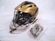 Image of Gold and White Cascade Pro 7 Helmet with Cascade Lacrosse Helmet Goalie Throat Guard