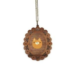 Image of Mustard Cat - Wooden Pendant Necklace - Ready to Ship