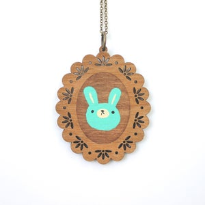 Image of Mint Bunny - Wooden Pendant Necklace
