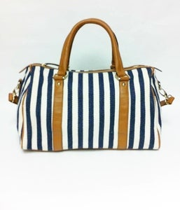 Image of Ella Striped Fabric Handbag