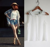 Image of white sheer blouse with mint peter pan collar S