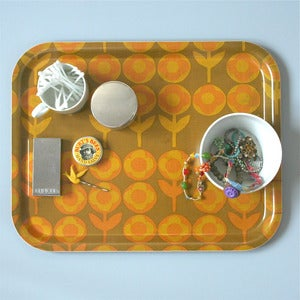 Image of Limited Edition Vintage Yellow Verdure Fabric Tray - LAST ONE