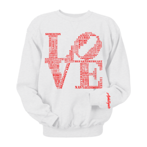 Image of Classic LOVE Crewneck (White/Red)