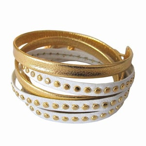 Image of Gold & White Leather Wrap Bracelet
