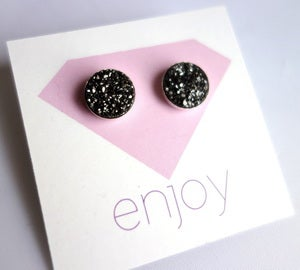 Image of Midnight Black Drusy Studs
