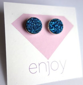 Image of 10 MM Blue Drusy Studs