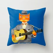"Tibbles Plays Acoustic -  Cushion Cover / Throw Pillow (16"" x 16"")"