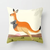 "The Kangaroo and The Koala - Cushion Cover / Throw Pillow (16"" x 16"")"