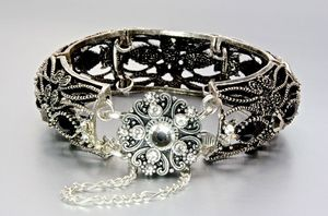 "Image of ""The French Connection"" - Antiqued Silver Wide Link Bracelet"