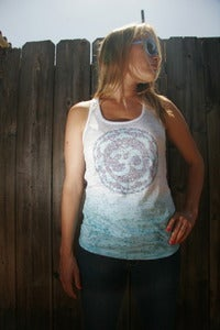Image of OM symbol - ombre burnout racerback tank top - teal/white