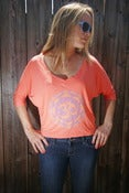 Image of OM – flowy half-sleeve cropped v-neck t-shirt – coral
