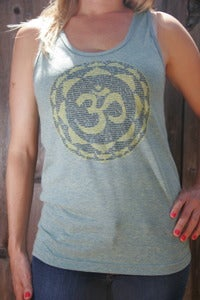 Image of OM – unisex women/men tri-blend tank top - tri-lime