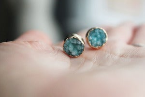 Image of NEW IN! TWINKLE Semi-Precious Mint Drusy Stud Earrings.