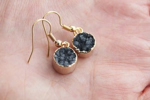 Image of NEW IN! TWINKLE Semi-Precious Drusy Slate Earrings.