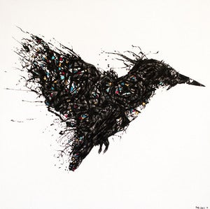 "Image of ""Mr. Kingfisher"" Oil and Ink on Canvas from Rob Wass AKA Data"
