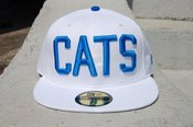 Image of white blue cats hat