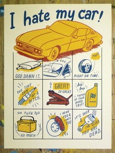 "Image of ""I Hate My Car"" variant print"