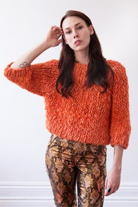 Image of kingston thick & thin merino sweater (shown in burnt orange)