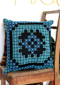 Image of BOHO Embroidered Cushion - Blues