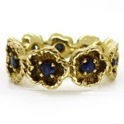 Image of Beautiful 18 Carat Gold Sapphire Stone Floral Flower Eternity Ring